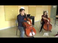 Cervinara. Sugli scudi allievi di violoncello professore De Angelis.