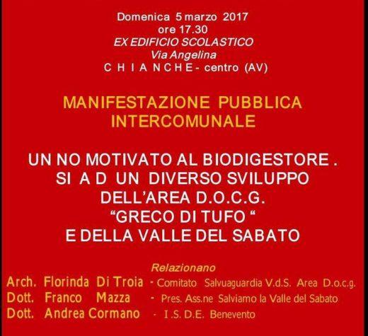 """No al biodigestore di Chianche, si all'area D.O.C.G. """"greco di Tufo""""."""